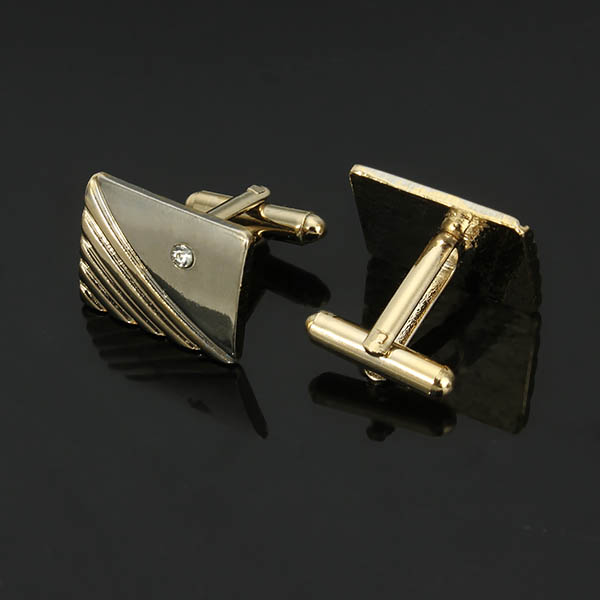 Men Diamonds Lavaliver Cufflink Suit Business Formal Silver Golden Geometry Cufflink