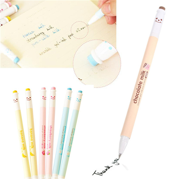 0.5mm Black Ink Erasable Gel Pen Roller Ball Pen Korean Cartoon Happy Smile