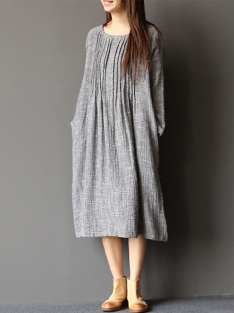 Women Crew Neck Solid Pleated Dress