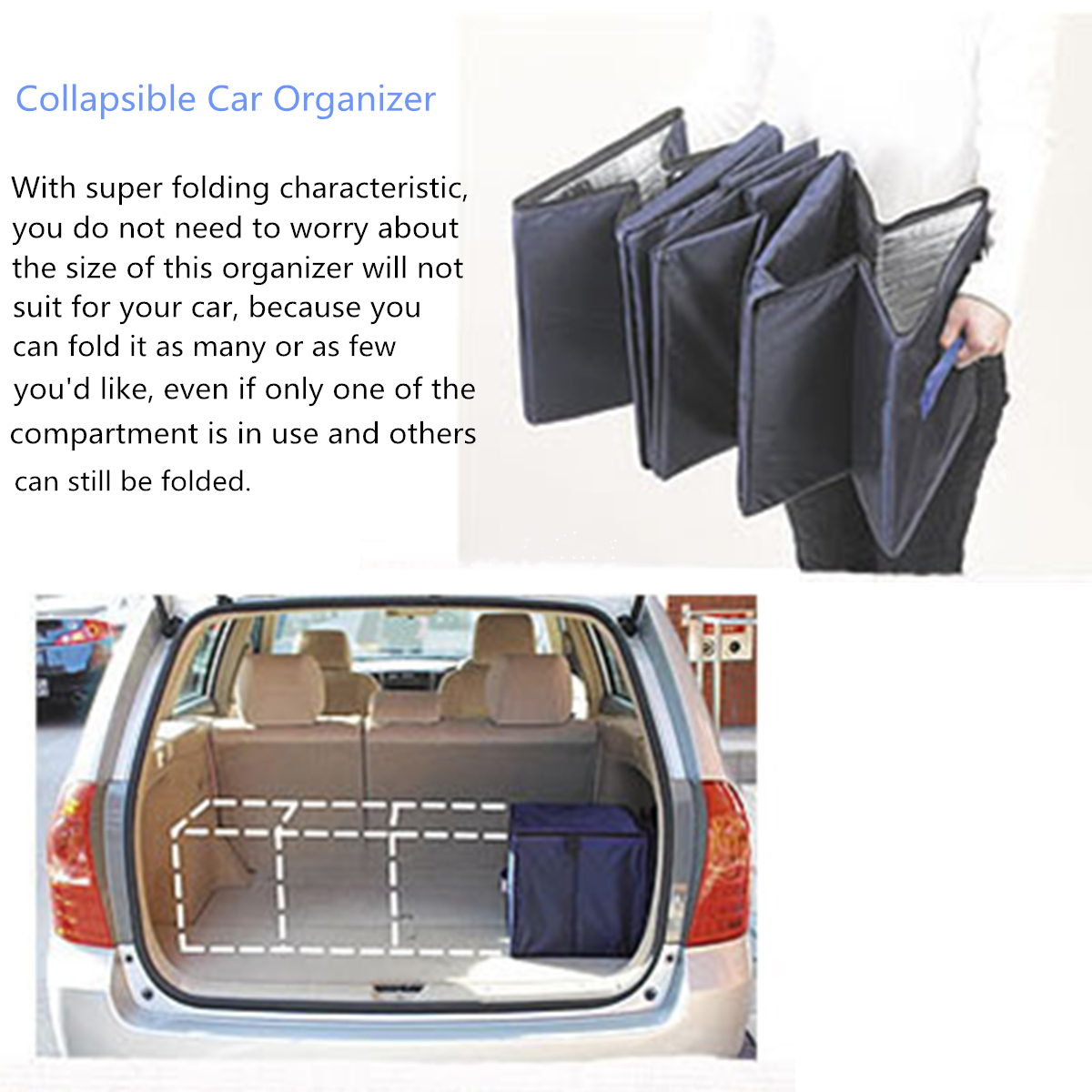 4 Grid Collapsible Foldable Car Trunk Boot Storage Organizer 2 Cold Thermal Insulation Bags