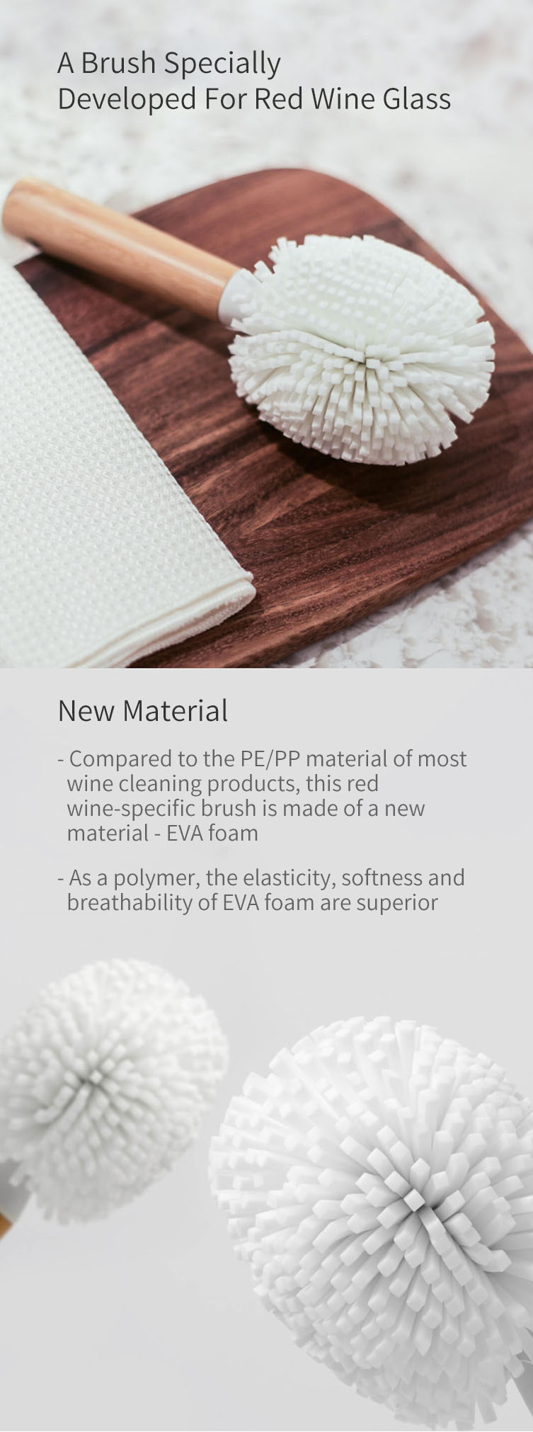 XIAOMI JIEZHI Bamboo Handle EVA Foam W ine Glass Brushes Cleaning Brushes Kitchen Cleaning Tools Glass Cleaning Brushes