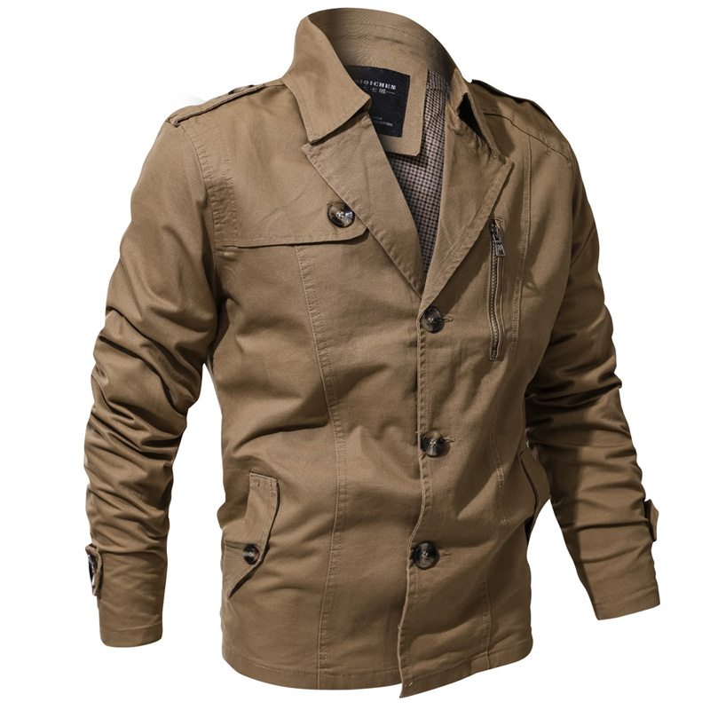 Mens Lapel Collar Spring Trench Coat Military Cotton Jacket