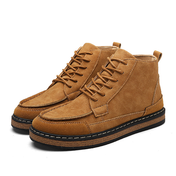Men Comfortable Suede Leather High Top Boots