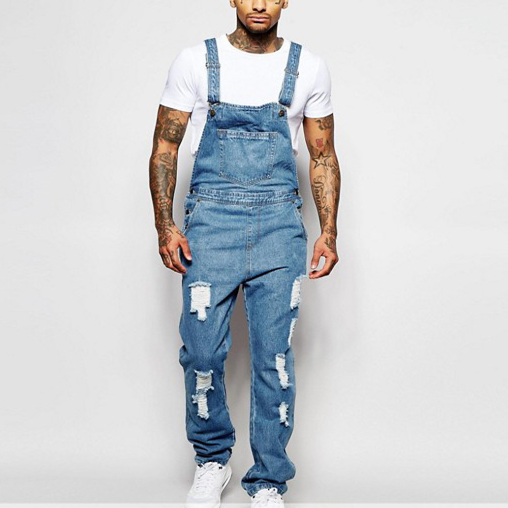Men's Sling Romper Torn Denim Pants