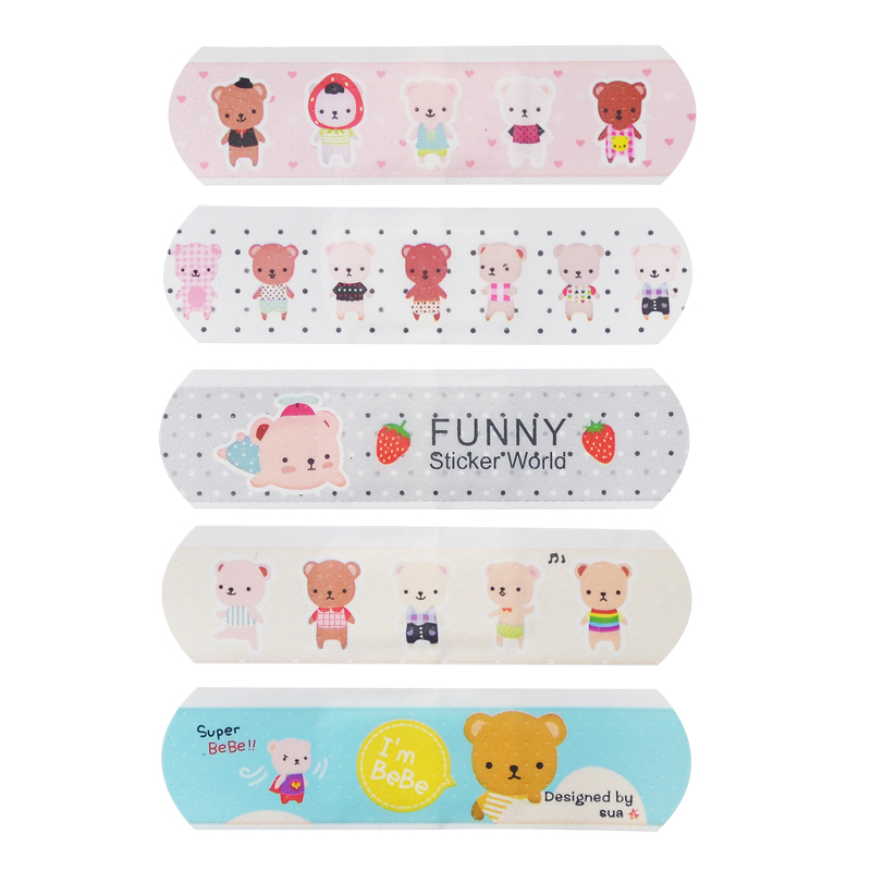 100Pcs Waterproof Breathable Cute Cartoon Band Aid Emergency Kit For Kids Children