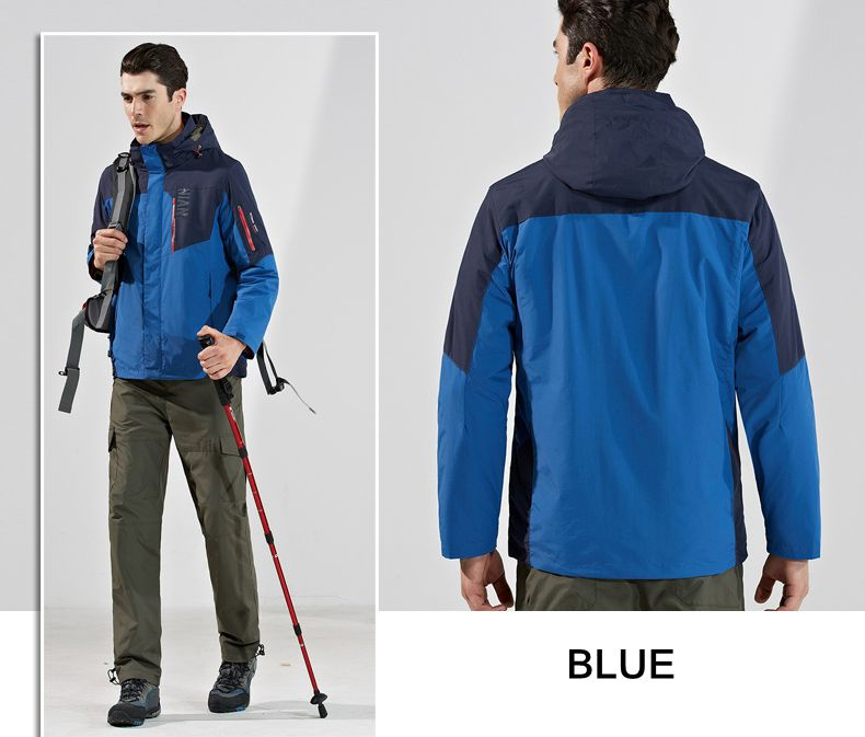 Winter Outdoor Windbreaker Fleece Liner Jacket Mens Warm Ski Sportswear Removable Two-Piece