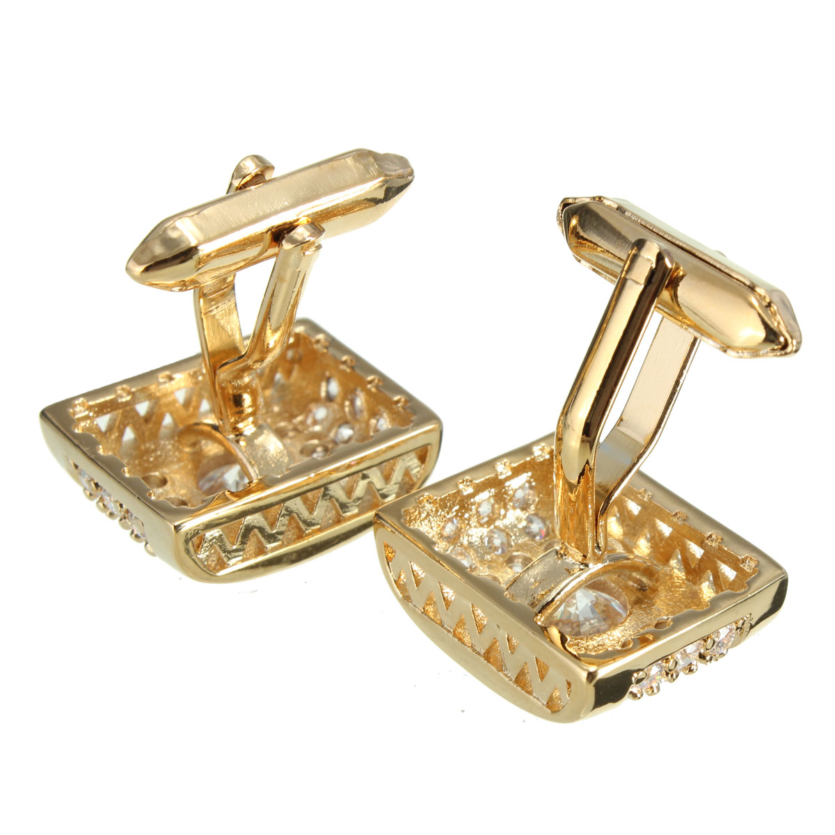 Men Male Golden White Crystal Silver Rectangle Cuff Links Wedding Party Gift Shirt Accessories