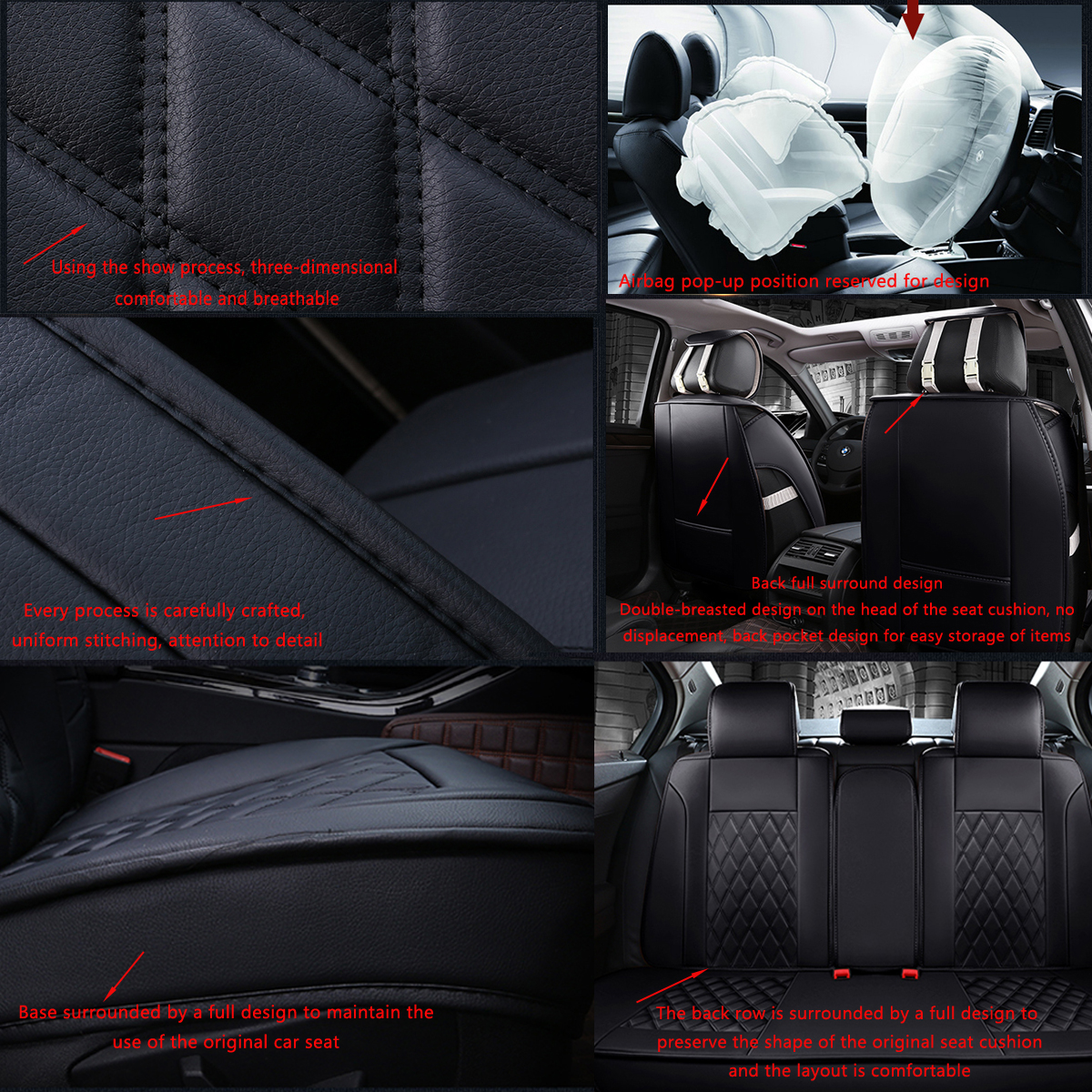 Leather Car Full Surround Seat Cover Cushion Protector Set Universal for 5 Seats Car