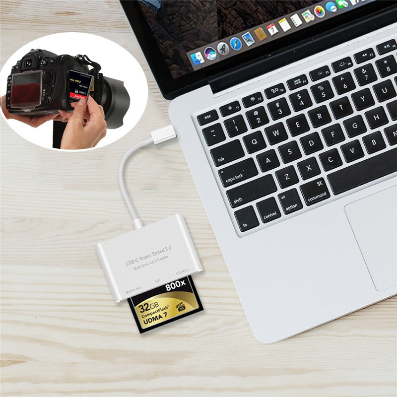 Universal 3 in 1 Type-c USB 3.0 CF Card Flash Memory Card TF Card Reader for Mobile Phone Tablet