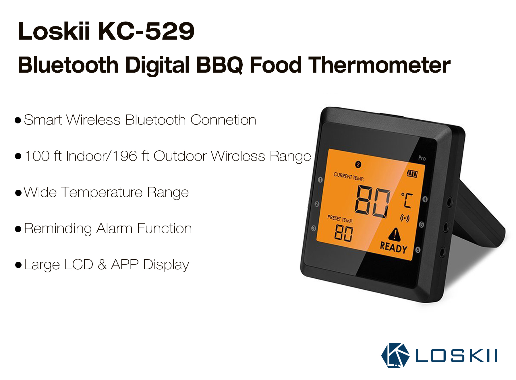 Loskii KC-529 Smart bluetooth Digital Display BBQ Grill Food Thermometer with Two Probes