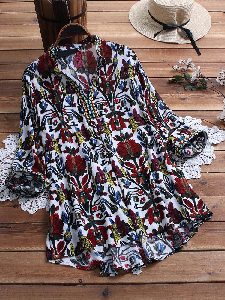 Women Print Folk Style High Low Hem Long Sleeve Blouse 8
