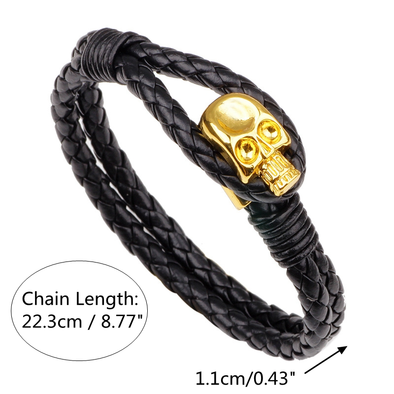 Punk Gold Skull Leather Wrap Chain Fashion Bangle Bracelets
