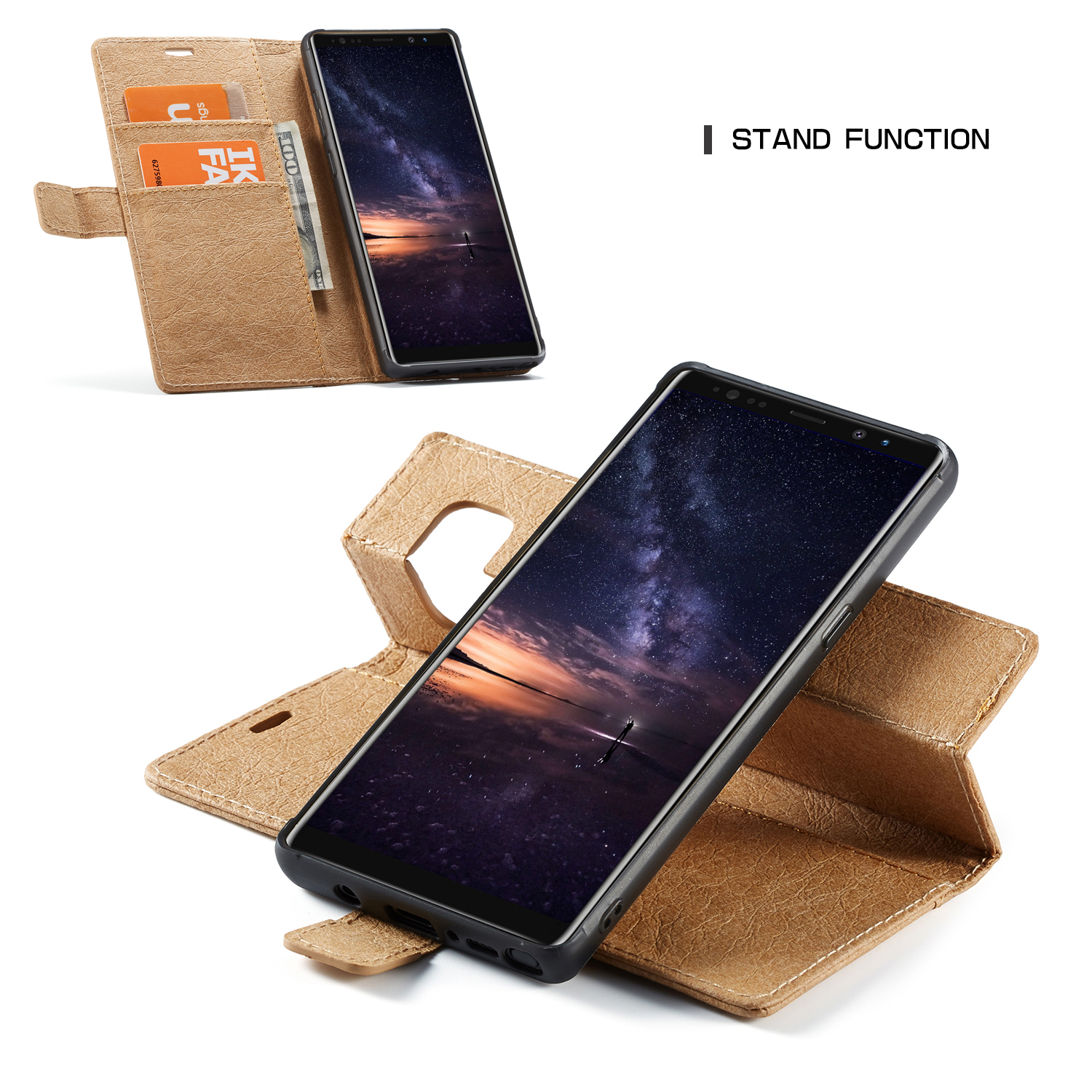 WHATIF Protective Case For Samsung Galaxy Note 9 Waterproof Kraft Paper Magnetic Detachable Wallet