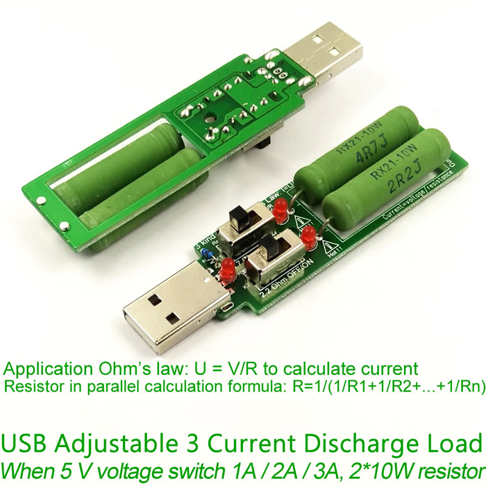 USB Resistor DC Electronic Load Adjustable 3 Current 5V 1A/2A/3A Battery Capacity Voltage Discharge Resistance Tester with Switch