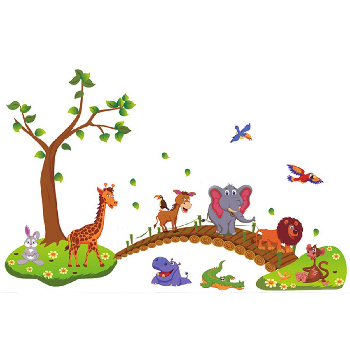 Baby Kids Nursery Cartoon Animal Removable Wallpaper DIY Sticker Tree Decal Art Cute Home Decoration