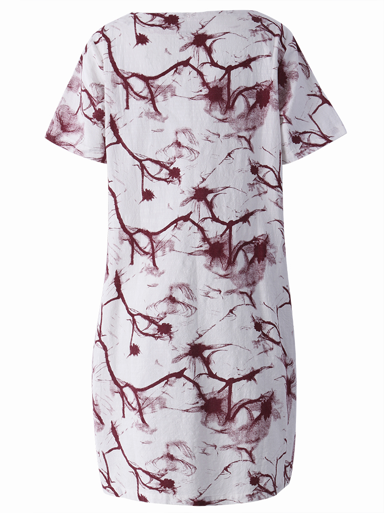 Loose Women Summer Mori Girl Flower Printed Split Dress