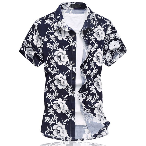 Mens Floral Ice Silk Cotton Plus Size Hawaiian Shirts