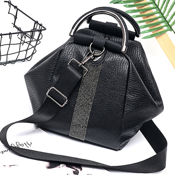 Women Faux Leather Black Multifunctional Backpack
