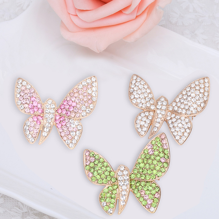 Elegant Butterfly Animal Inly Zircon Crystal Brooch Pin Accessories