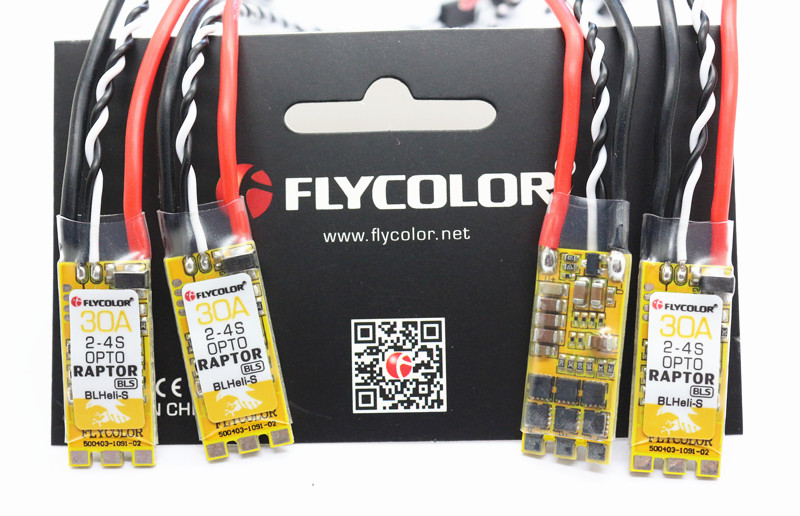 4 PCS Flycolor Raptor BLS-Pro 30A BLheli_S BB2 2-4S DShot600 ESC with Protective Cover for RC Drone
