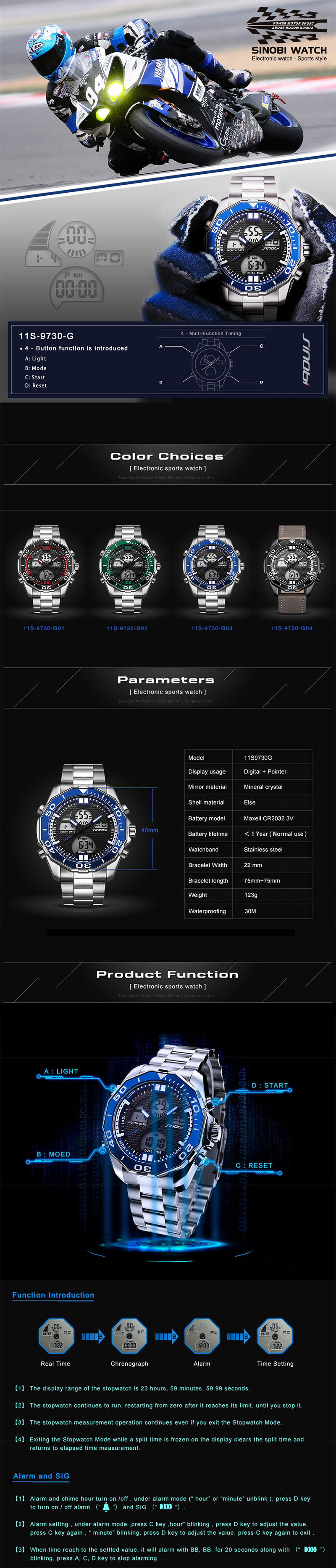 SINOBI 9730 Men Luminous Display Dual Display Digital Watch
