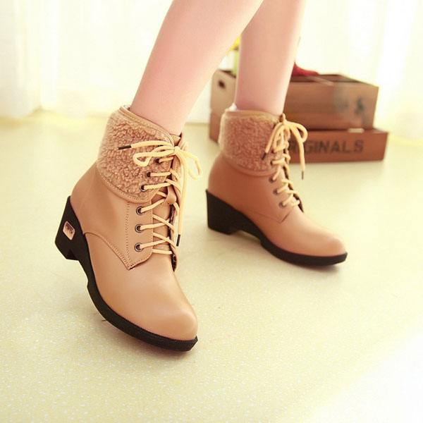 US Size 5-12 Winter Women Casual Short Boots Lace Up Outdoor Fashion High Heel Shoes