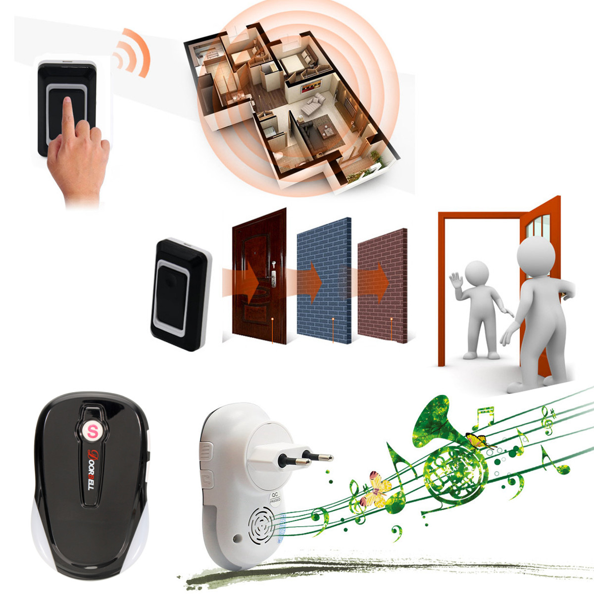 300M Smart Wireless Digital Doorbell Phone Home Security 2 Receiver 36 Music Ring Tone Door Bell