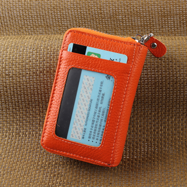 Genuine Leather Zipper 19 Card Holder Women Portable Short Purse Coin Bags