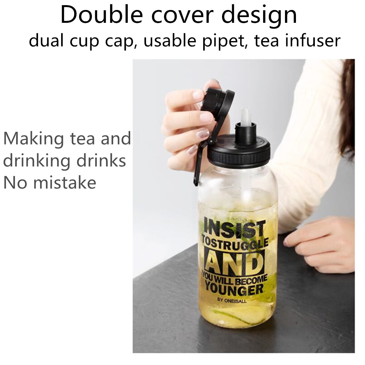 1000ml Portable Glass Water Bottle Drink Tea Cup Outdoor Sport Office Travel Cap with Cup Sleeve and Straw