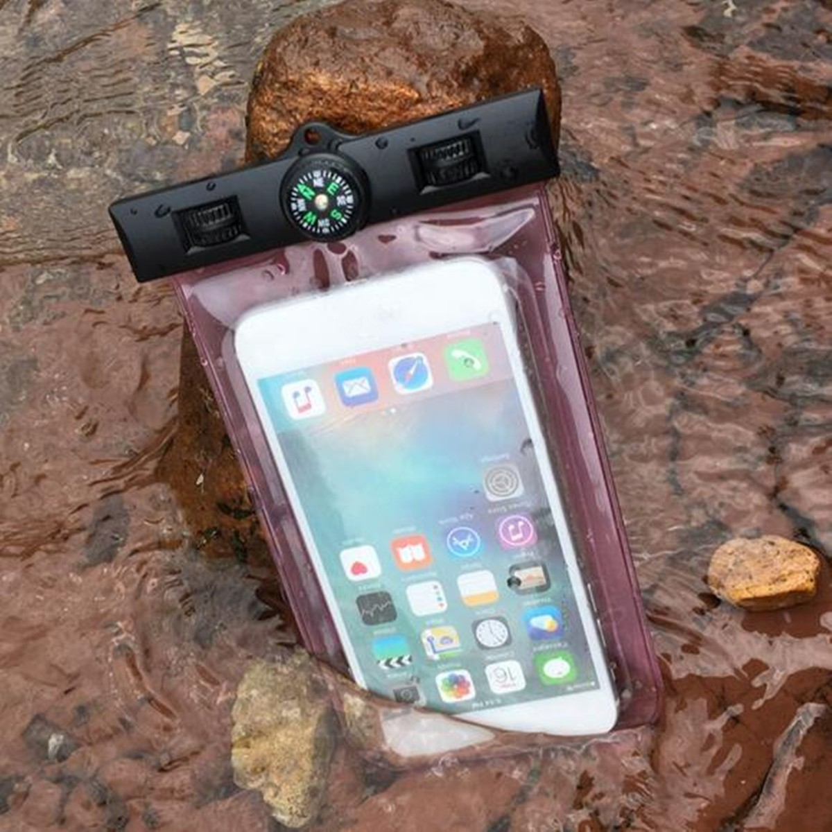 Waterproof IPX8 Under Water Pouch Bag Case Cover + Compass For 3.5-inch To 6-inch Cell Phone