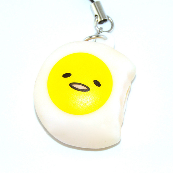 Squeeze Lazy Egg Yolk Stress Reliever Phone Bag Strap Pendent 4cm With Strap