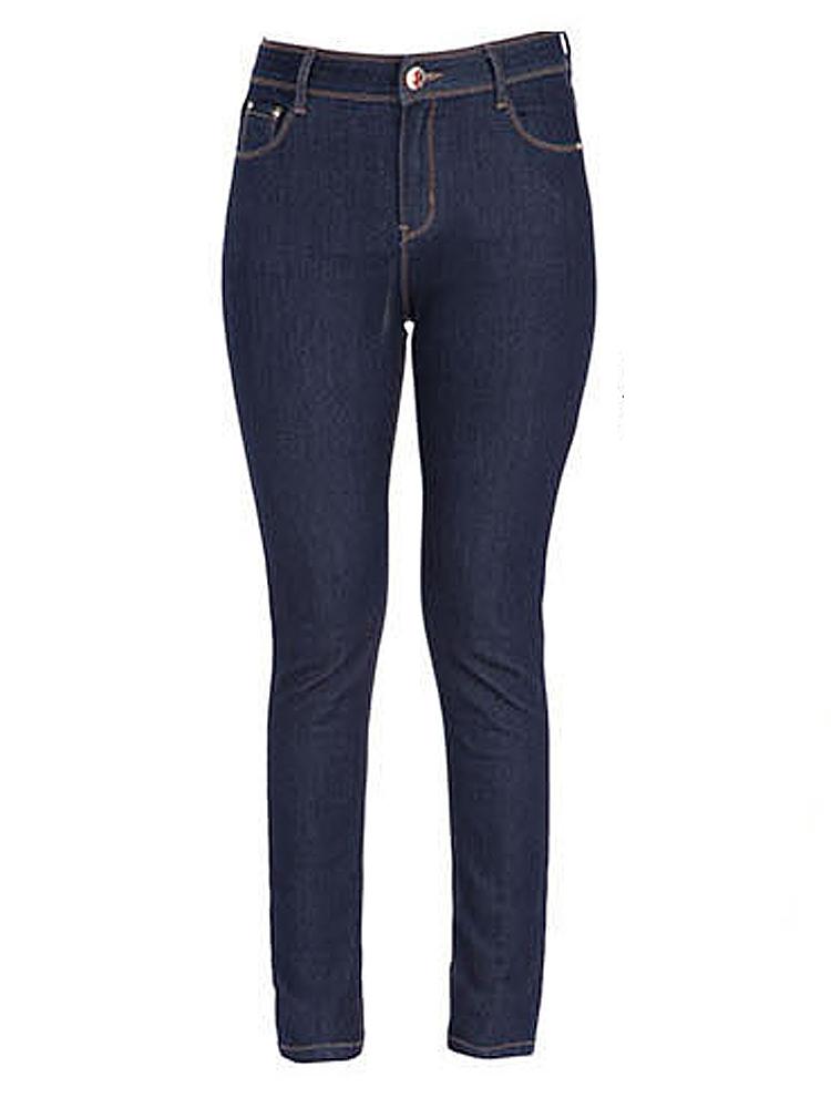 Women Dark Blue Zipper Pocket Elastic Slim Pencil Denim Jeans