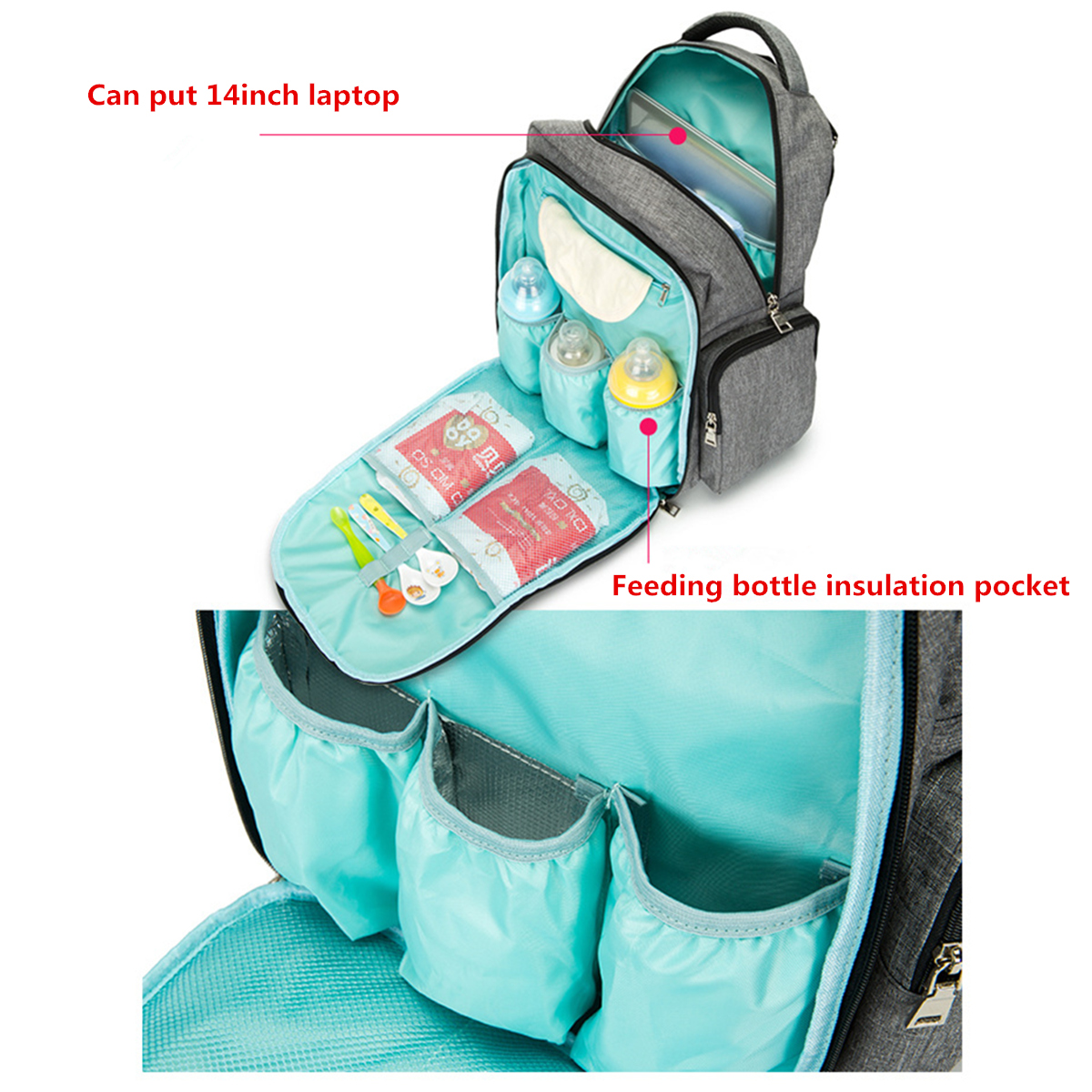 30x18x43cm Waterproof Oxford Outdoor Mummy Backpack Stroller Hanging Bag Travel Bags
