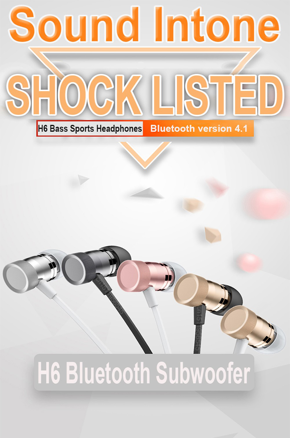 Sound Intone H6 Wireless bluetooth Sport Earphone Headset with Mic