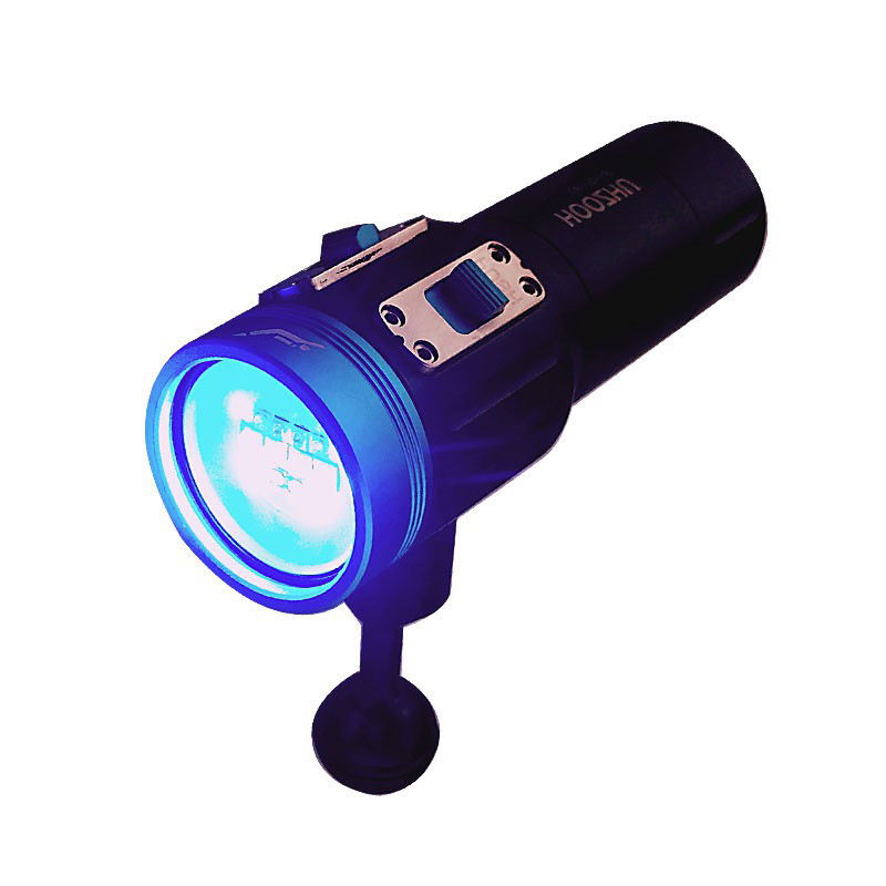 HOOZHU V13 Underwater 100m 12x LED Bulbs 2600LM Dual Swicth 2-group Modes UV Diving Light Dive Flashlight Suit with 32650 & Charger &Bracket