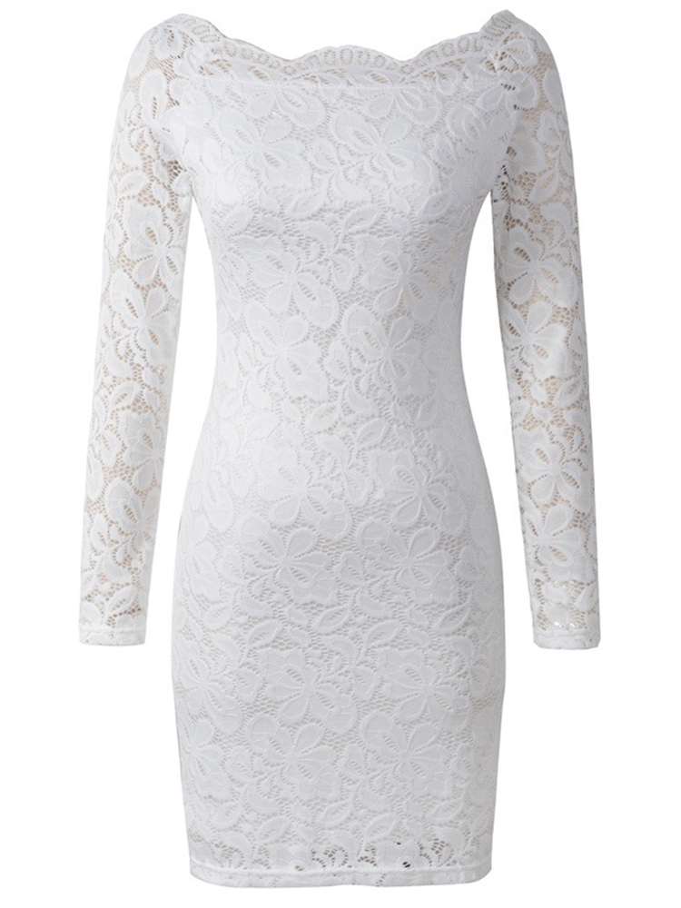 Women Sexy Lace Hollow Out Floral Embroidery Patchwork Bodycon Dress