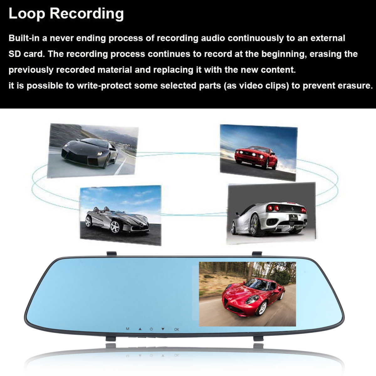 4.3 Inch F12C 1080P HD Display Car DVR Rear View Camera Recorder with 17 Degree Wide Angle