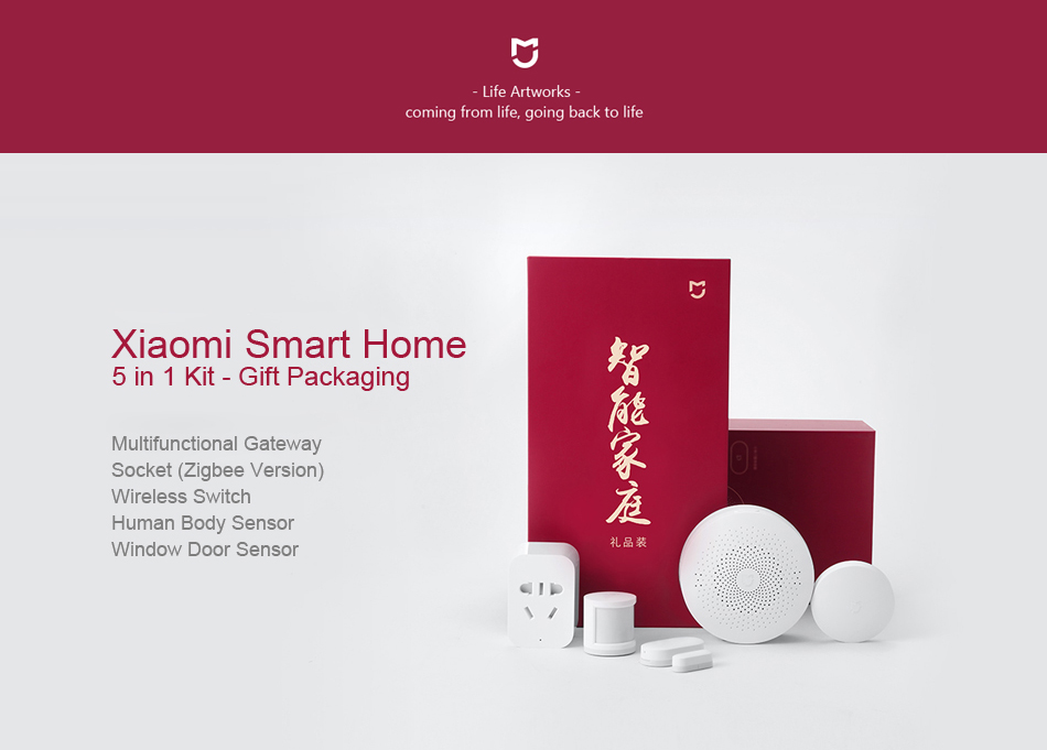 Original Xiaomi Mijia 5 in 1 Smart Home Security Kit with Wireless Switch PIR Motion Sensor Multifunctional Gateway Set