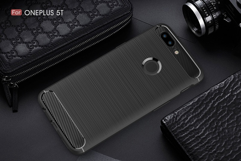Ultra Thin Carbon Fibre Drop-resistance Soft Silicone TPU Back Case For OnePlus 5T