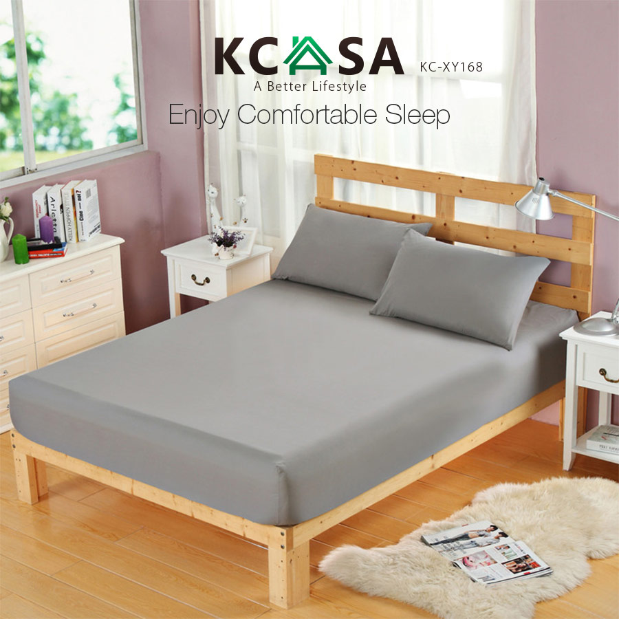 KCASA KC-XY168 Bed Sheet Soft Fitted Sheet Breathable Elastic Mattress Cover Twin Full Queen Size