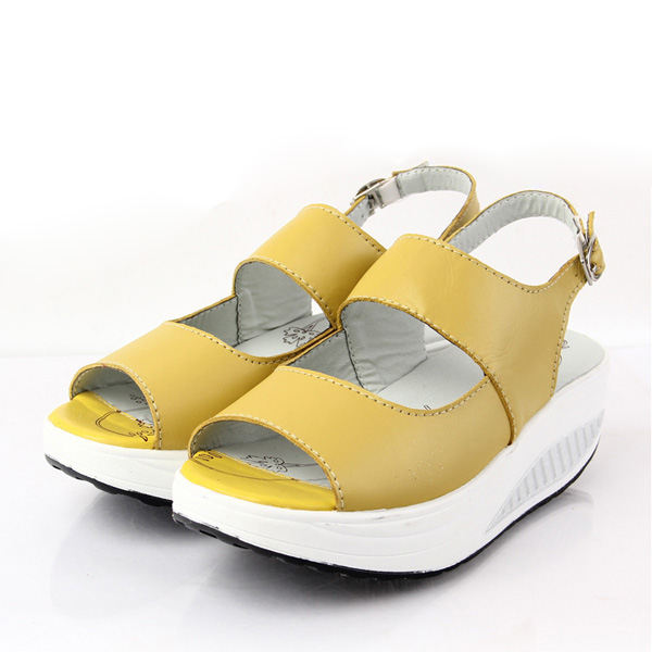Leather Buckle Wedge Sandals Comfortable Shake Peep Toe Platform Sandals