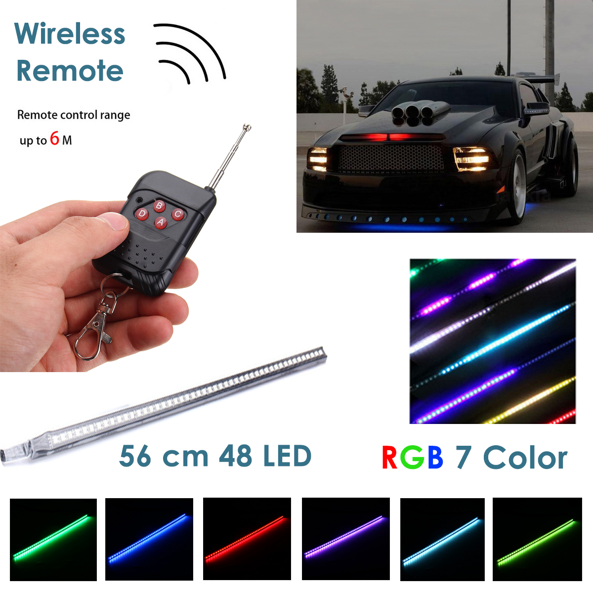 56cm RGB LED Light Strip Car Under Hood Scanner Knight Rider Strobe Lamp with Remote Controller
