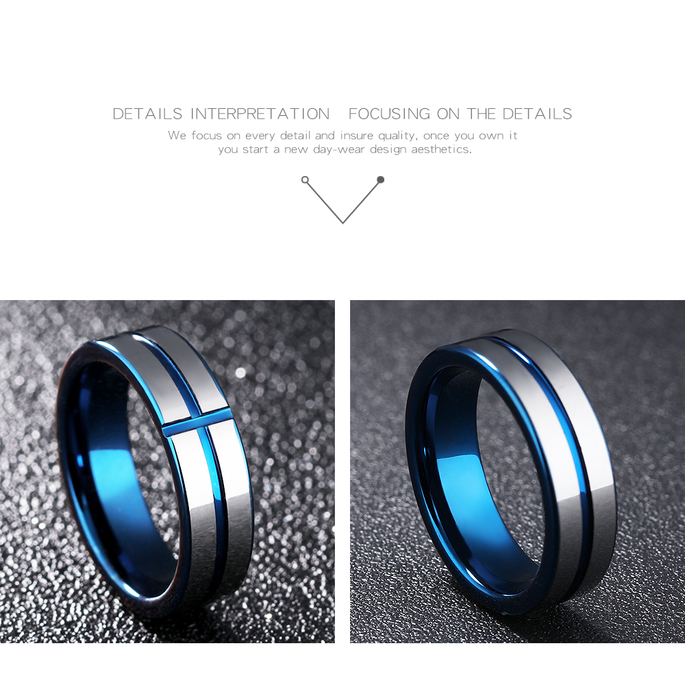 Vintage 6mm Tungsten Steel Blue Cross Ring for Men