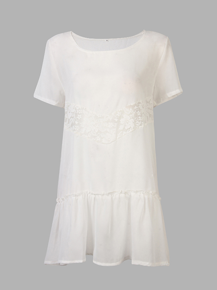 Casual Women Simple Chiffon Lace Short Sleeve Loose Mini Shirt Dress