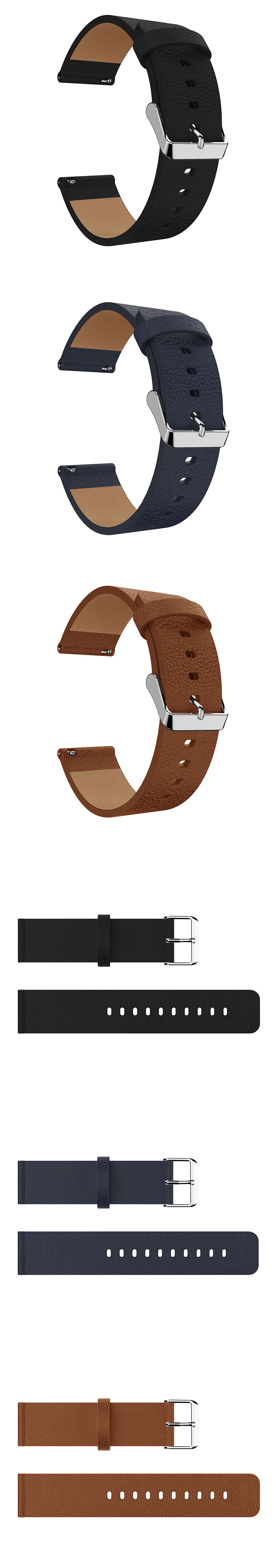 23mm Litchi Genuine Leather Watch Band For Fitbit Versa