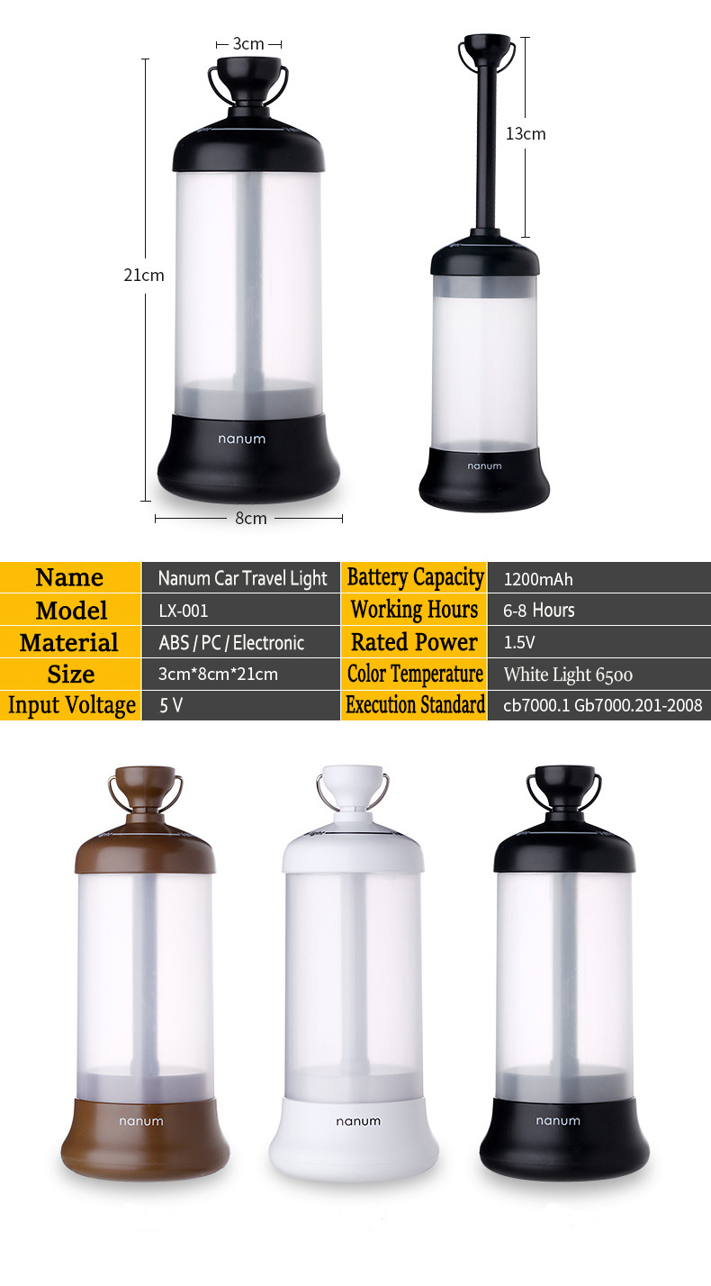Nanum Car Travel Lights USB Charging Camping Outdoor Portable Telescopic Emergency White Lanterns