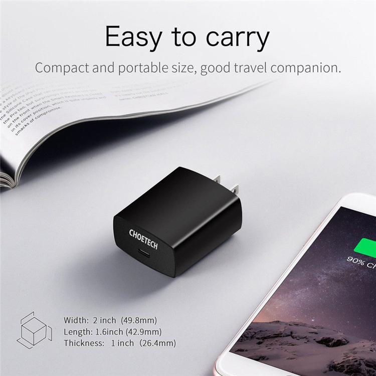 CHOETECH 18W Power Delivery Type-C Wall Charger Mobile Phone USB PD Charger