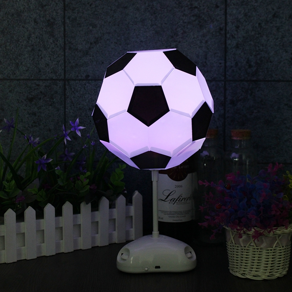 DIY Handmade 7 Color Changing USB Football LED Night Light Desktop Lamp Bedroom Decor