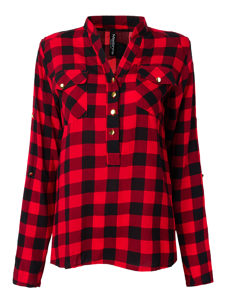 Pocket Casual Vintage Red Plaid Button Women Rayon Blouse
