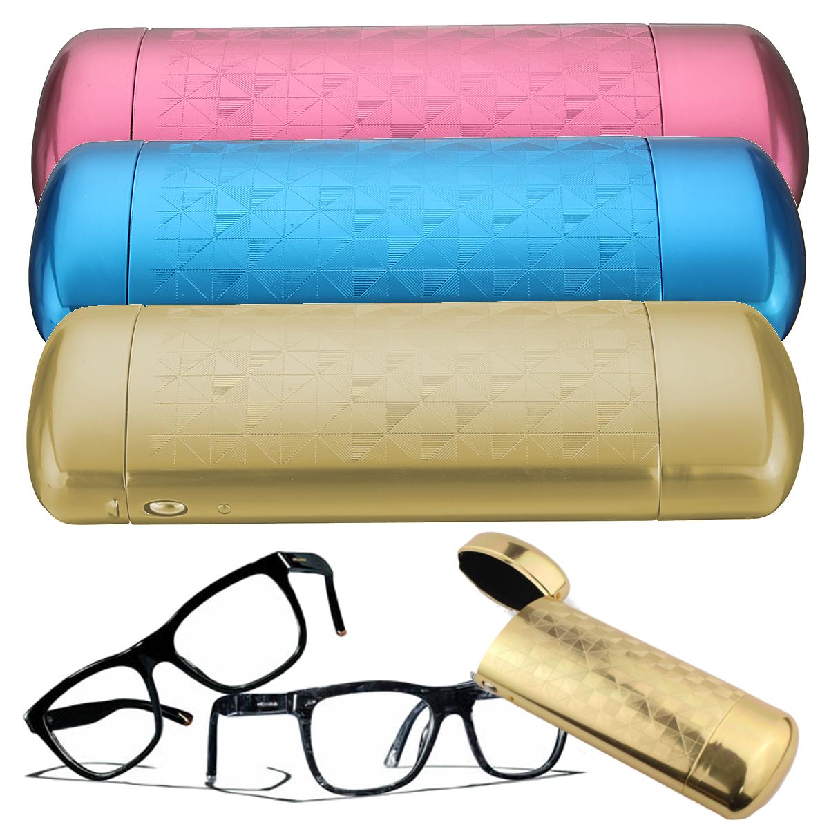 Aluminum Reading Glasses Storage Case Capsule Flip Top Eyewear Protector Box